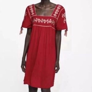 Zara Red Embroidered Peasant Dress